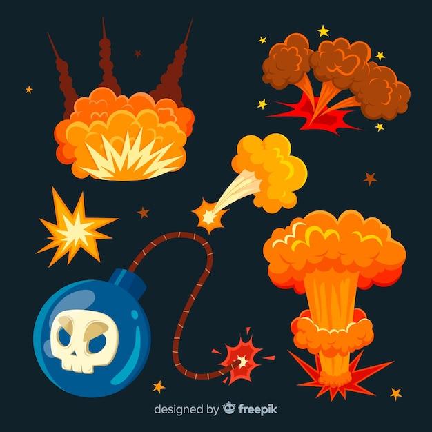 Cartoon bombe und explosionseffekt sammlung Kostenlosen Vektoren