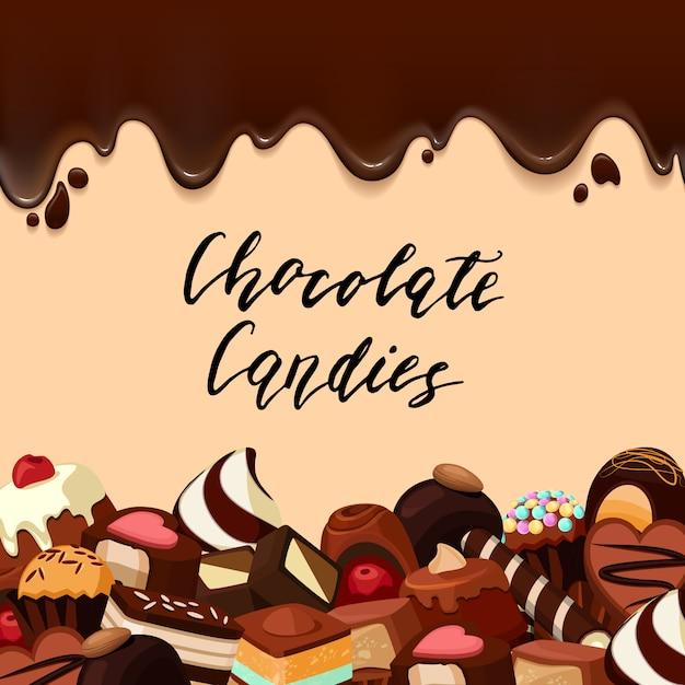 , cartoon bonbons und schokoladenstreifen Premium Vektoren