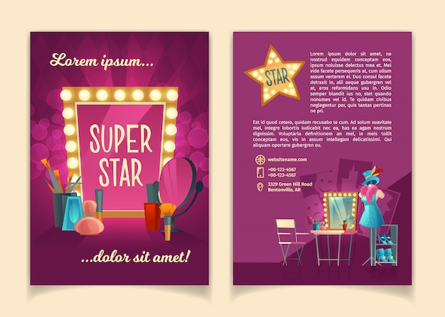 Cartoon-broschüre für die werbung von konzertreisen berühmter künstler, theatergruppen Kostenlosen Vektoren