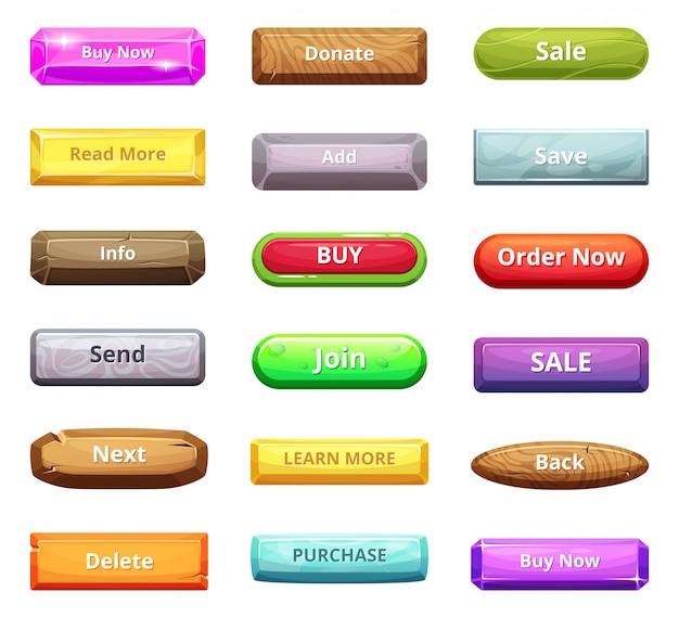 Cartoon-buttons für web-markt und andere internet-projekte Premium Vektoren