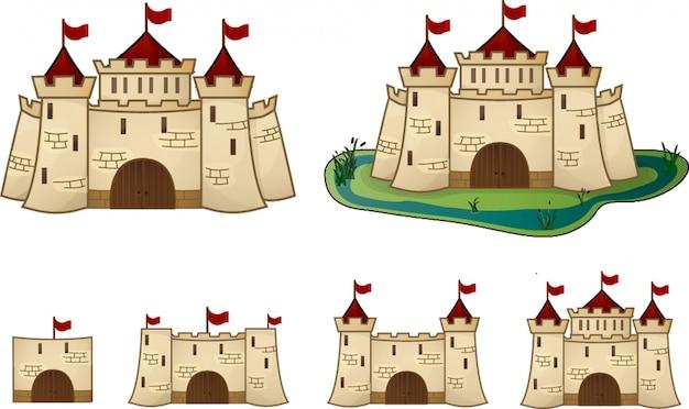 Cartoon castle evolution für das spiel Premium Vektoren