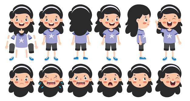 Cartoon character design für animation Premium Vektoren