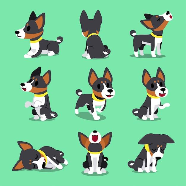 Cartoon charakter basenji hund stellt Premium Vektoren