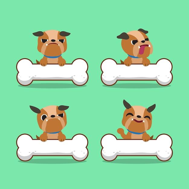 Cartoon charakter bulldogge mit großen knochen Premium Vektoren