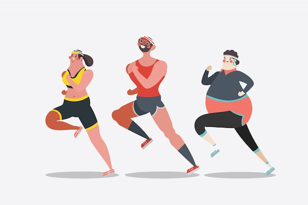 Cartoon Charakter Design Illustration. junge Erwachsene laufen ...