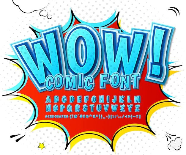 Cartoon comics schriftart. blaues alphabet im stil von comics, pop-art. mehrschichtige 3d buchstaben und zahlen Premium Vektoren