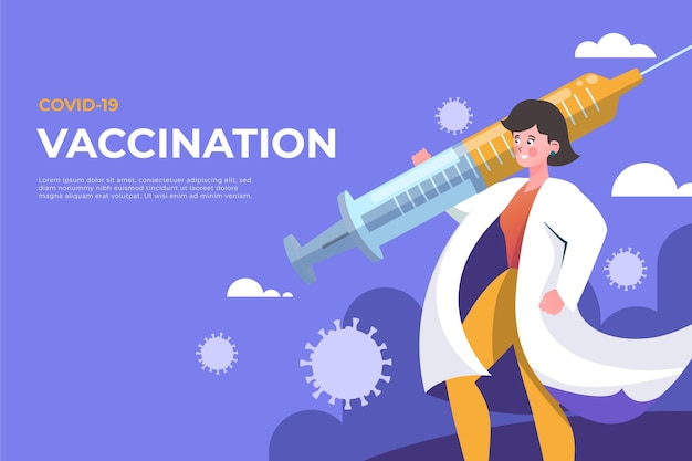 Cartoon coronavirus impfstoff hintergrund Kostenlosen Vektoren