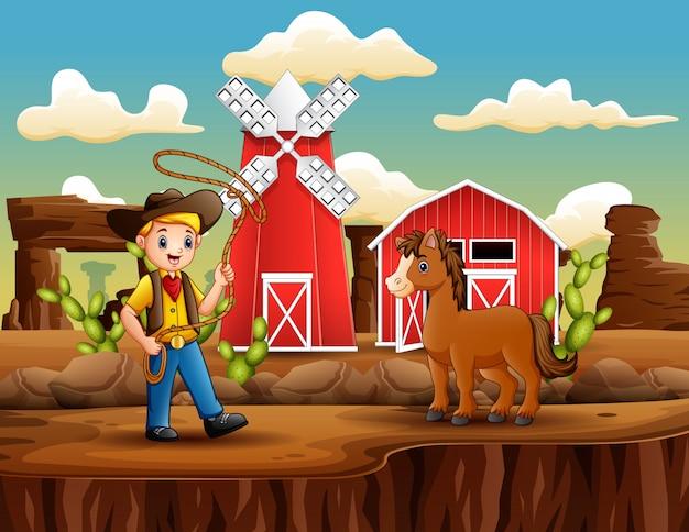 Cartoon cowboy mit einem pferd und lasso Premium Vektoren