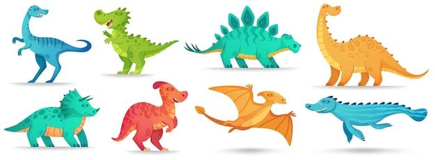 Cartoon dino. netter dinosaurier, lustiger alter brontosaurus und grüne triceratops. Premium Vektoren