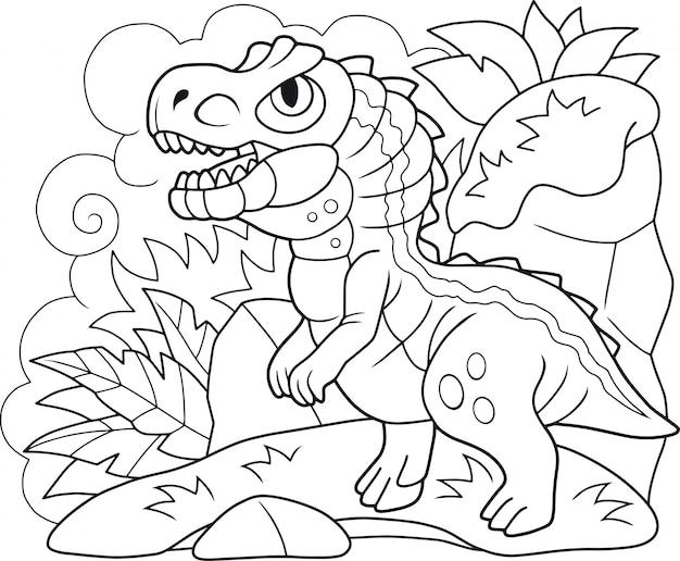 Cartoon dinosaurier allosaurus Premium Vektoren