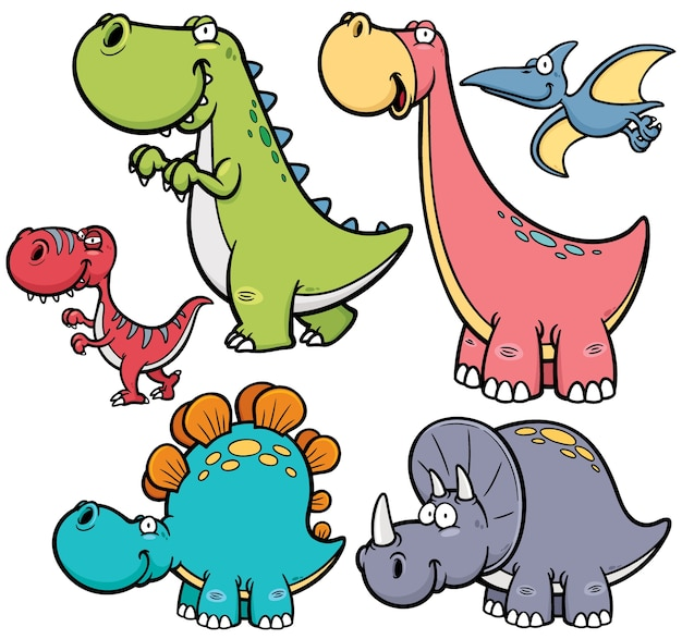 Cartoon dinosaurier charakter Premium Vektoren