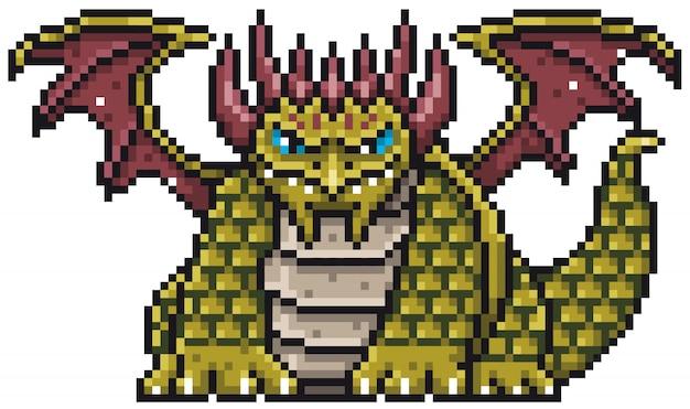 Cartoon dragon pixel design Premium Vektoren