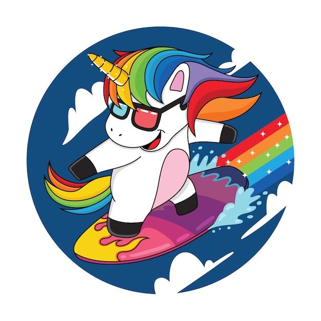 Cartoon einhörner, die die wolken mit regenbogen surfen Premium Vektoren