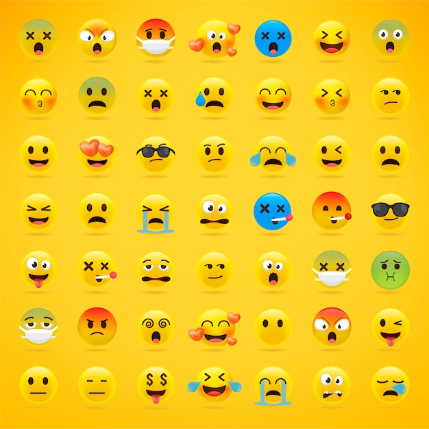 Cartoon emoji sammlung. Premium Vektoren