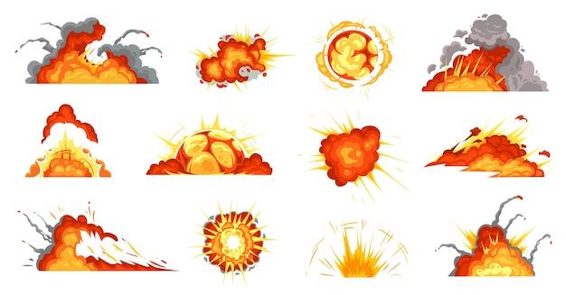Cartoon-explosionen. explodierende bombe, feuerwolke und explosion platzen. Premium Vektoren