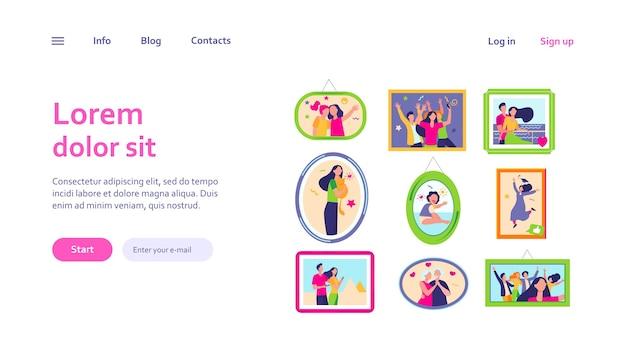 Cartoon familie fotorahmen isoliert web-vorlage. gerahmte porträts und bilder von glücklichen menschen an der wand Kostenlosen Vektoren