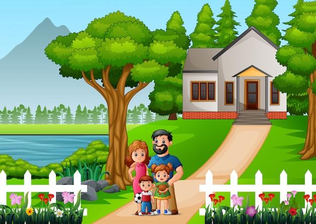 Cartoon-familie vor dem haushof Premium Vektoren