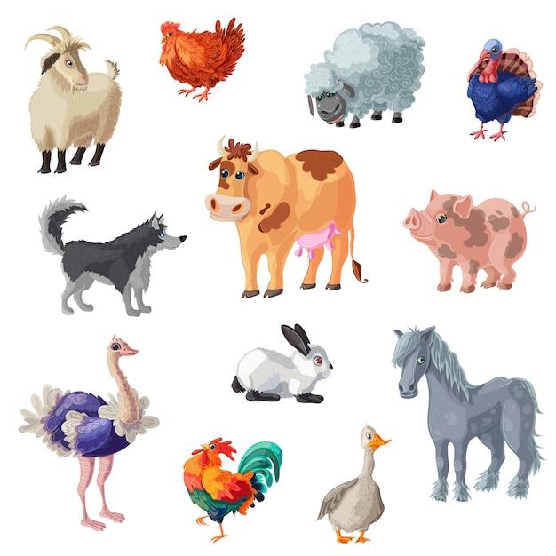 Cartoon farm animals set Kostenlosen Vektoren