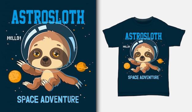 Cartoon faultier astronaut, mit t-shirt design, hand gezeichnet Premium Vektoren