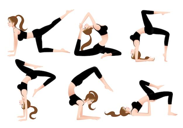 Cartoon female yoga trainer ermöglicht es ihnen, selbst yoga zu spielen. Premium Vektoren