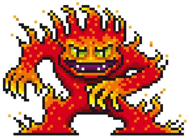 Cartoon-feuer-monster-pixel-design Premium Vektoren