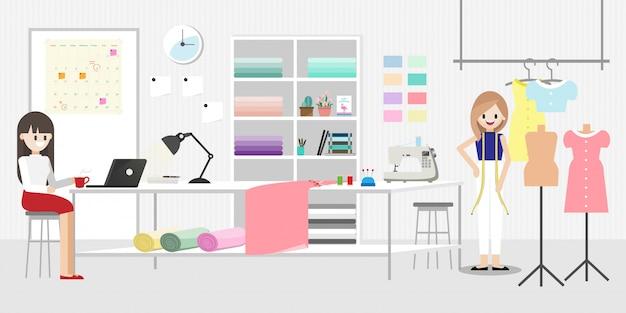 Cartoon-figur mit modedesigner job Premium Vektoren
