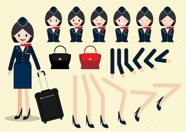 Cartoon-figur mit schönen stewardess animierten stil und teil des körpers Premium Vektoren