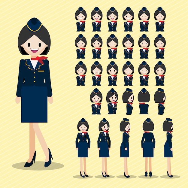 Cartoon-figur mit schönen stewardess, lady head set. Premium Vektoren