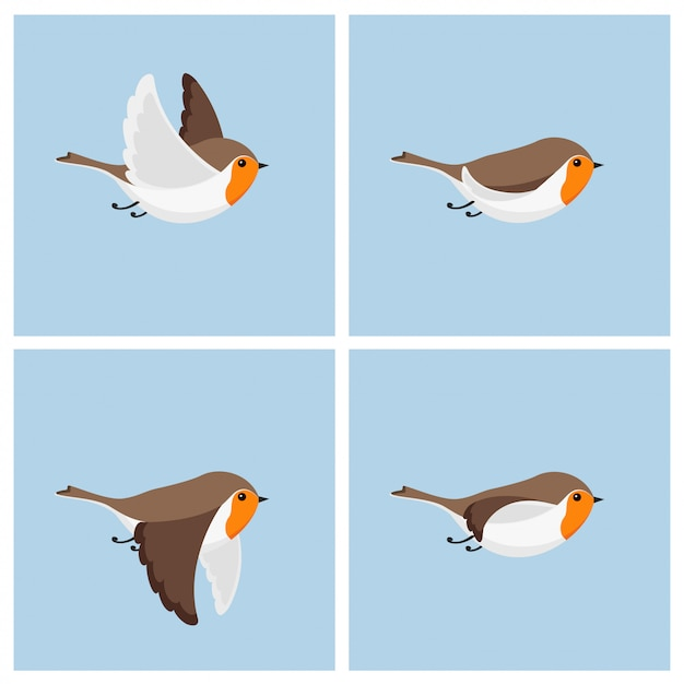 Cartoon fliegendes rotkehlchen vogel animation sprite blatt. Premium Vektoren