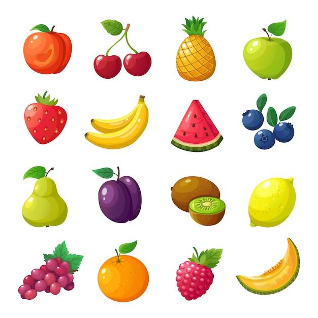 Cartoon früchte und beeren. melonenbirnenmandarinenwassermelonen-apfelorange lokalisierter vektorsatz Premium Vektoren