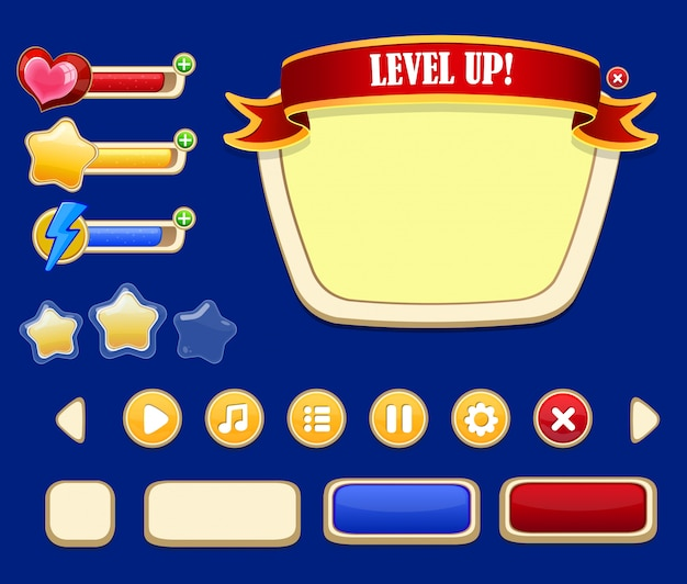 Cartoon game user interface concept Kostenlosen Vektoren