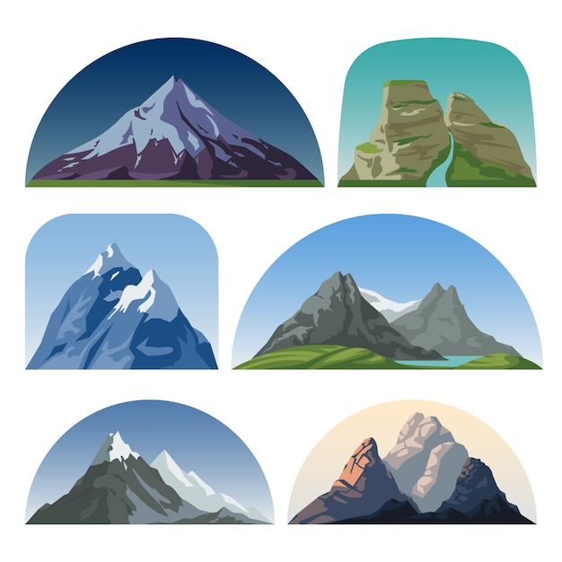 Cartoon-gebirgsseitenvektorlandschaften. im freien hügelkuppen isoliert sammlung. berglandschaftshügelspitze, felsen- und schneeillustration Premium Vektoren