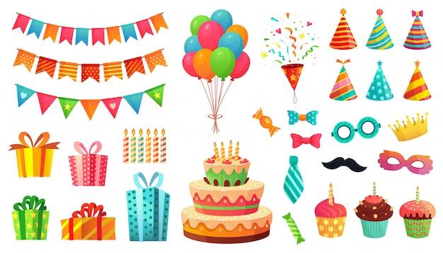 Cartoon geburtstagsfeier dekorationen. geschenke, süße cupcakes und festkuchen. bunter ballons illustrationssatz Premium Vektoren