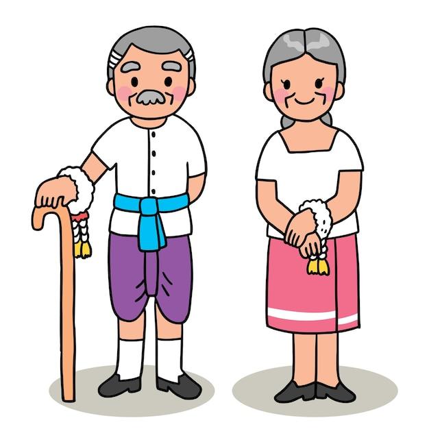Cartoon geschnitten songkran festival thailand, großvater und großmutter thai stil. Premium Vektoren