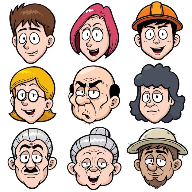 Cartoon gesicht charakter Premium Vektoren