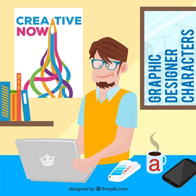 Cartoon grafik designer download der premium vektor for Grafik designer
