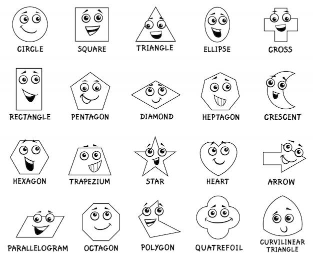 Cartoon grundlegende geometrische formen zeichen Premium Vektoren