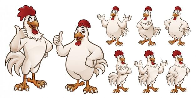 Cartoon-hahn und hühnersammlung Premium Vektoren