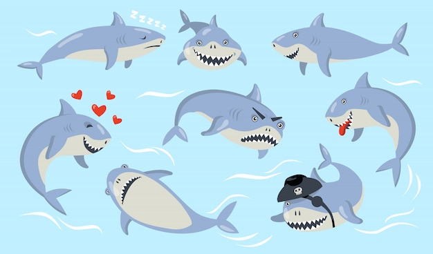 Cartoon hai verschiedene emotionen eingestellt Kostenlosen Vektoren