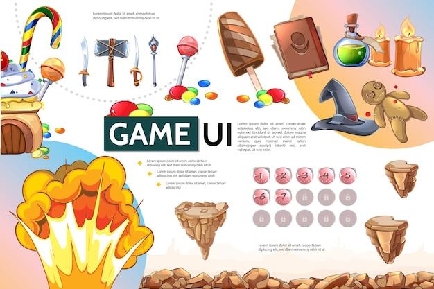 Cartoon handyspiel infografik-konzept Kostenlosen Vektoren