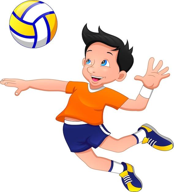 Cartoon-junge, der volleyball spielt Premium Vektoren