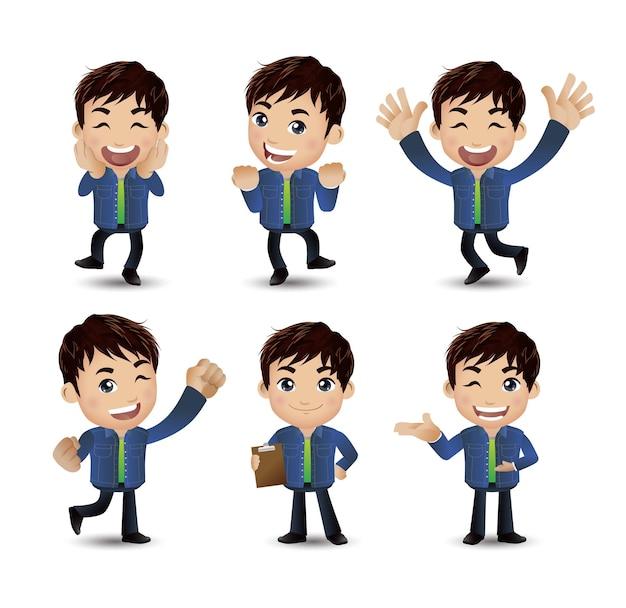 Cartoon junge leute. männer mit unterschiedlichen posen Premium Vektoren