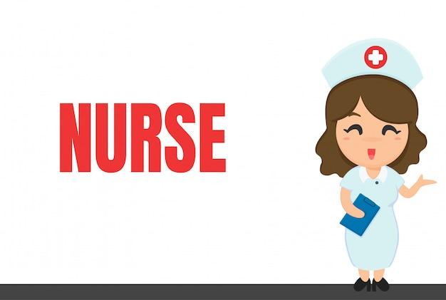 Cartoon-karriere. krankenschwester und notizbuch beim überprüfen des zustands des patienten. Premium Vektoren