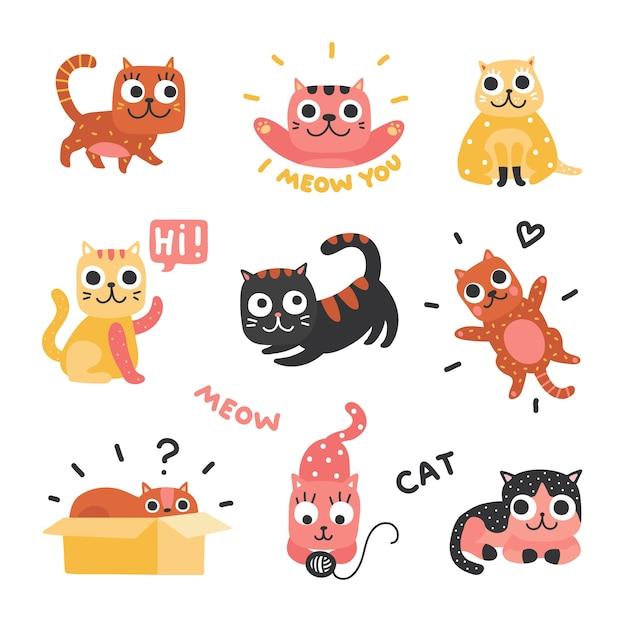 Cartoon-katzen. lustige kätzchen in verschiedenen farben, lustige faule katzenfiguren. schöne verspielte haustiere, heimtiere eingestellt. faule katze, haustierkätzchen, schläfrige und verspielte illustration Premium Vektoren