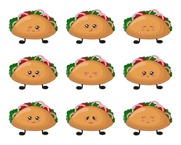 Cartoon kawaii fast food - set tacos mit emoji Premium Vektoren