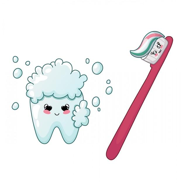 Cartoon kawaii zahn und zahnbürste niedlichen charakter zahnpflege Premium Vektoren