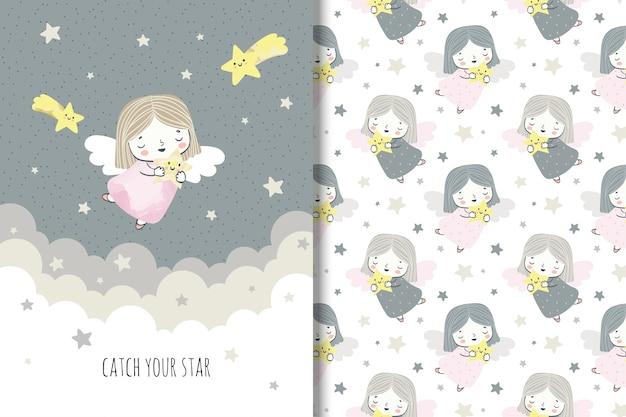 Cartoon kleiner engel mit sternen. llustration und nahtlose muster für kinder Premium Vektoren