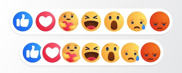 Cartoon-knopf emoji-reaktionen mit neuer pflegereaktion Premium Vektoren