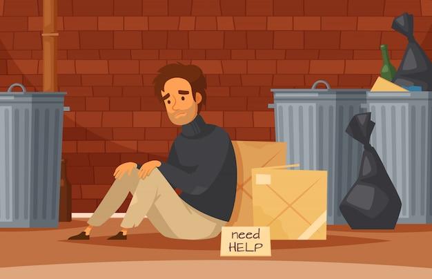 Cartoon-komposition für obdachlose mit einem traurigen, armen, obdachlosen mann, der mit einem typenschild auf dem boden sitzt, braucht hilfe Kostenlosen Vektoren
