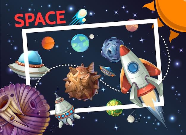 Cartoon kosmische schablone mit rechteckigem rahmen rakete raumschiff ufo planeten asteroiden meteore Kostenlosen Vektoren